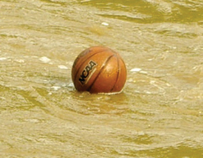The basketball game was cancelled due to the storm and flooding.
