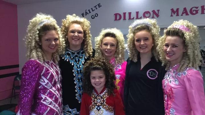 McDowell and her dance team after her recent Irish dance competition.