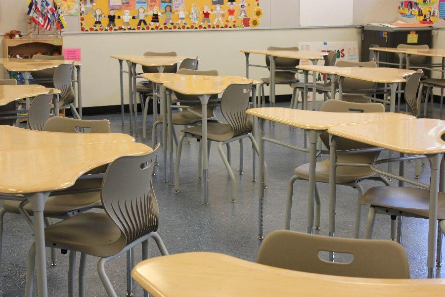 The new desks in U-wing classrooms are designed to fit easily into groups of two and four, allowing students to work with their peers. The triangular shape of the desk is unique to the new building,
