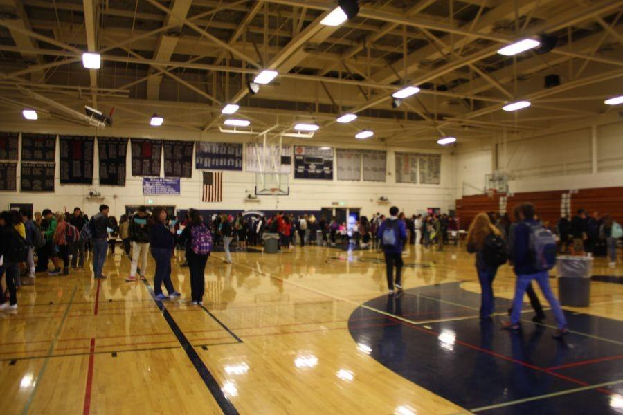 Carlmont's annual course fair held in the gym.