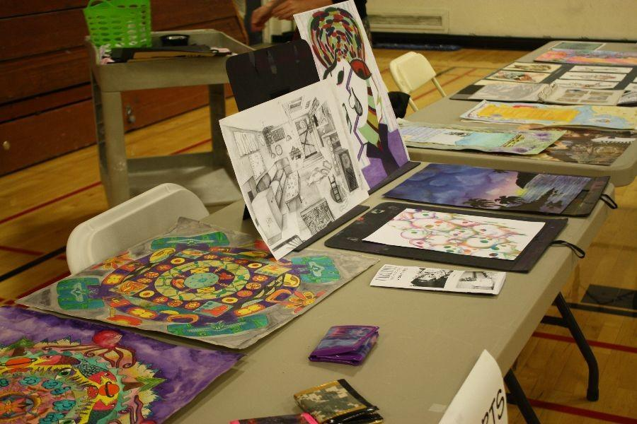 Student art creations on display in an attempt to recruit students.