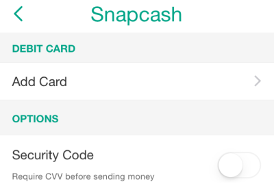 Snapchat presents the user with various steps when setting up their Snapcash account.