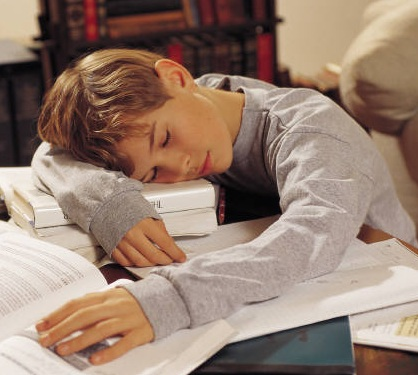 Students with too much homework struggle to get an ample amount of sleep each night.