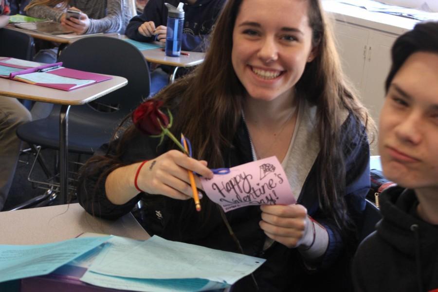Junior Giorgi Trembley showed off her Valentine's Day rose.