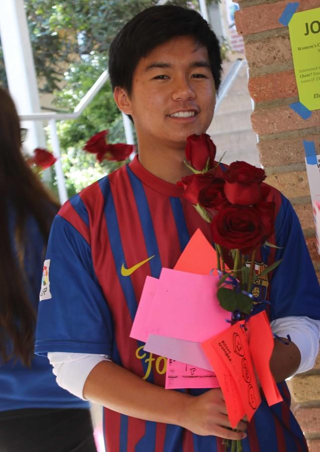 Sophomore ASB student, Liam Jocson, passed out more roses and chocolates than his arms could carry.