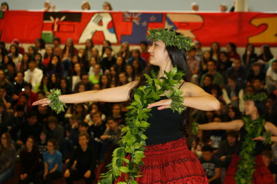 Junior Kiana Edwards danced the hula with the Polynesian club.