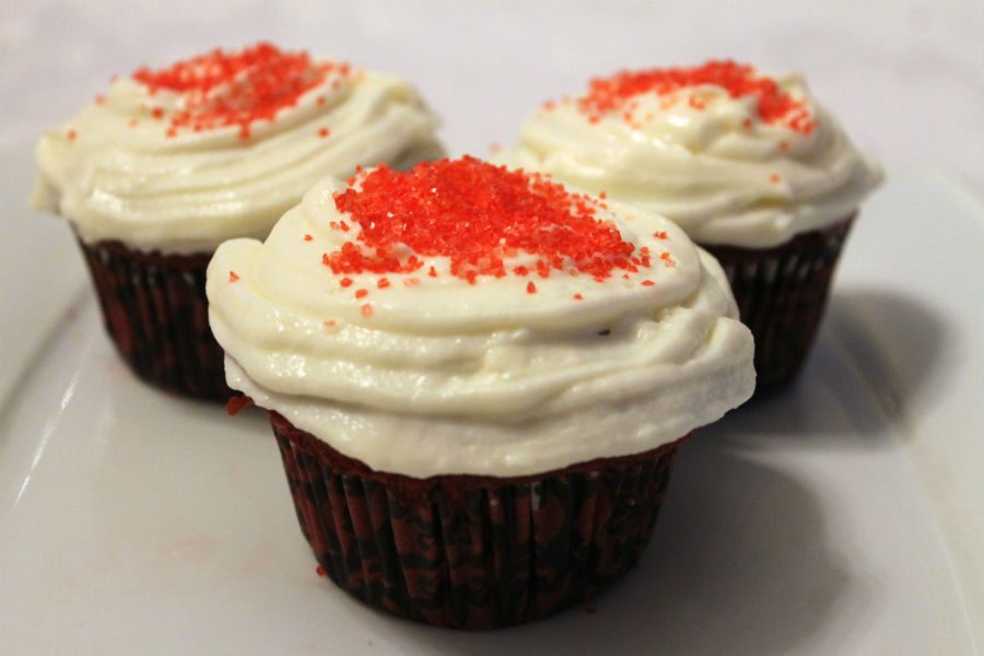 Red velvet cupcakes are a common Valentine's Day treat.