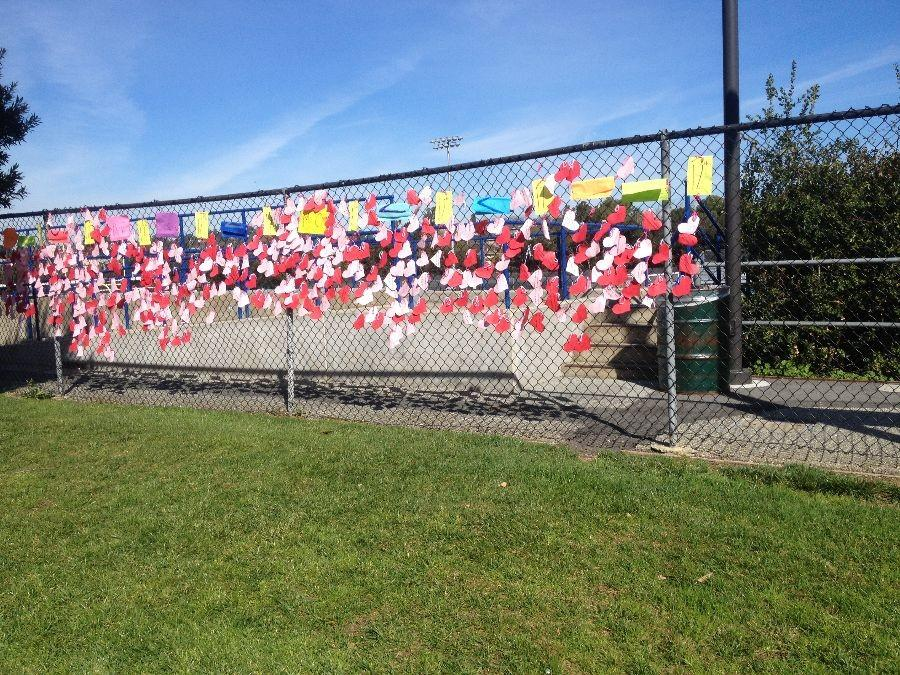 Hearts with every student's name were hung on the fence near the quad.