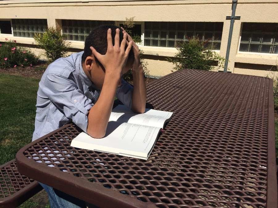 Freshman Keanu Dono pours over his history textbook.
