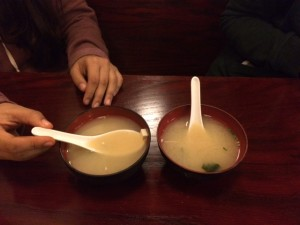 Before the main part of the meal, the chicken teriyaki bowl, customers are served a bowl of steaming miso soup.