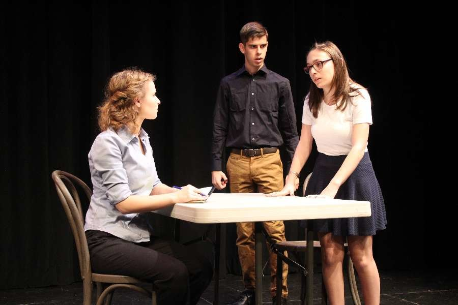 Cast+members+Dana+Reynolds%2C+Denis+Yudin%2C+and+Emma+Sazio+unravel+the+murder+mystery+of+%22Isaac%2C%22+a+student+written+and+directed+play.+%22In+Isaac+my+favorite+part+was+getting+to+play+someone+who+was+so+damaged%2C%22+said+Sazio.+%22It+isn%27t+something+I+ever+really+done+before+and+it+was+fun+to+connect+with+my+character+and+feel+her+pain.%22+