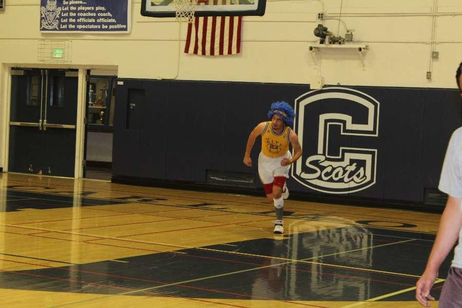 Senior Jason Segal sported serios basketball gear for the sophomore versus senior game.