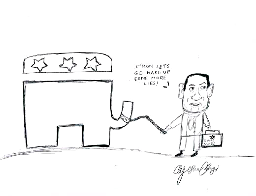 Netanyahu cartoon depicting him walking an elephant labeled as the GOP to create more lies with him.