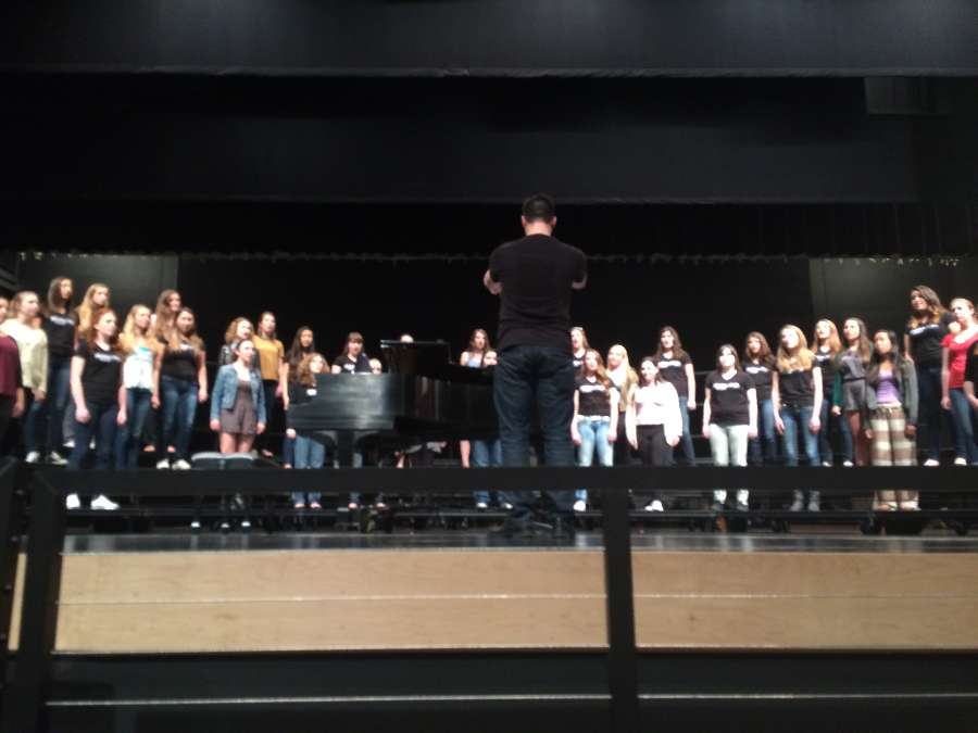 Shasta's choir director, Gavin Spencer, conducted the Shasta Women's Choir and the former Carlmont Treble Clef choir as they performed