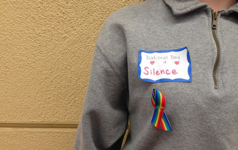 Many Carlmont students wore name tags and ribbons today in support of Harmony's annual Day of Silence.