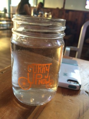 Curry Up Now serves their water out of mason jars.