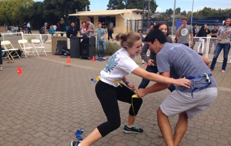 Seniors Amelia Armstrong (left) and Taran Sun (right) face off in an intense round of capture the flag.