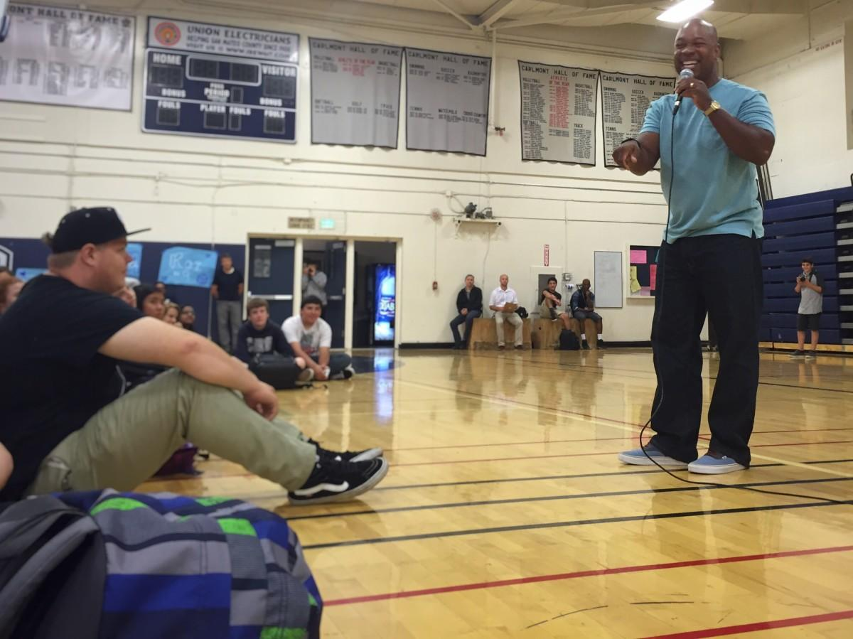 Motivational speaker Keith Hawkins ties in humor to engage and encourage students.
