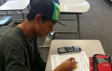 Freshman William Castro-Ramirez attends his first math contest.