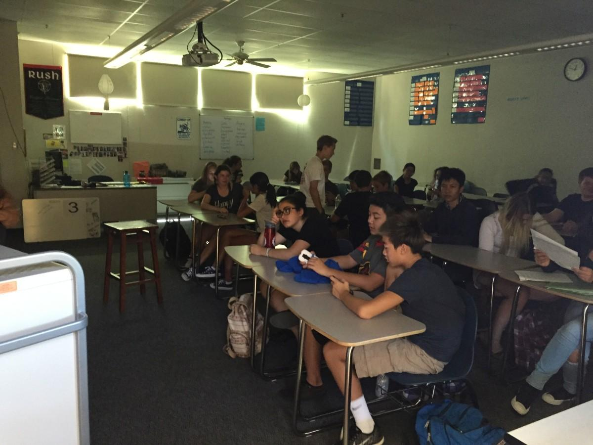 Classes stall without SMART Board access during the power outage.