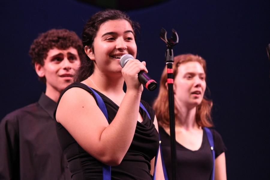 Sophomore Marjan Moshiri performs  a solo in the song Moondance by Van Morisson at the 2015 pops concert.