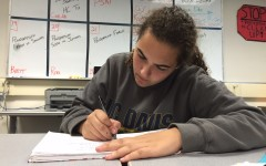 Junior Kimberly Lane, working hard on homework after school, said,