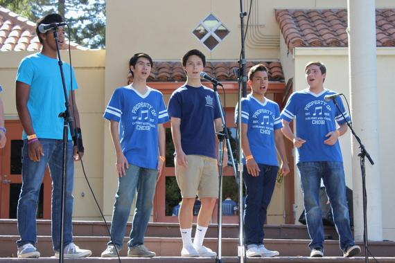 Carlmont boys' a capella group Fine Tuning performs at Save the Music Festival.