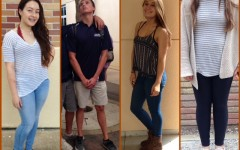 (From left to right) Freshman Briana McDonald, junior Michael Morris, freshman Jianna Mojas, and junior Nicole Dabir all show off their own unique fall styles.