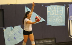 Senior Elena Mateus prepares to serve the ball back to Hillsdale opponents
