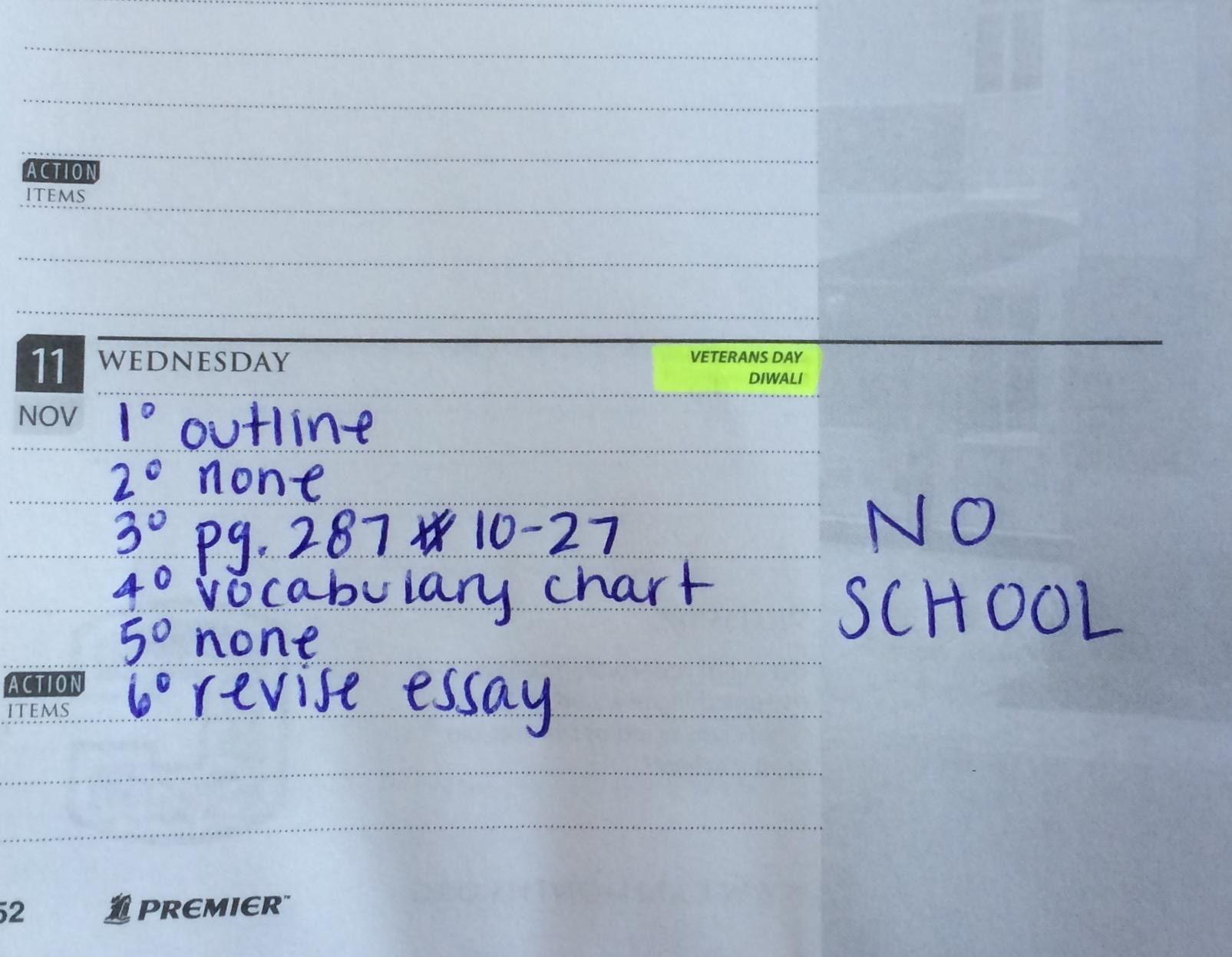 Although it is their day off, students still have a list of homework assignments to complete.