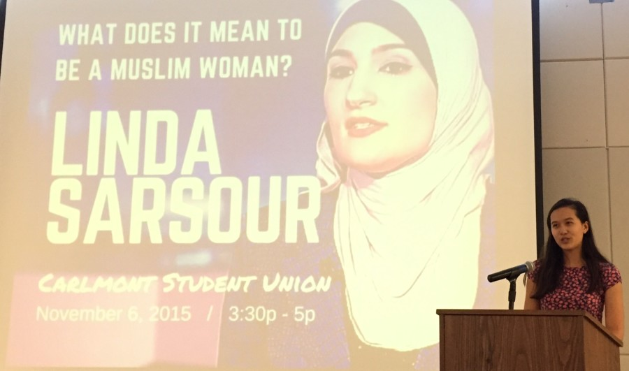 Junior Evelyn Lawrence, co-president of Carlmont Feminist Club, introduces Linda Sarsour.