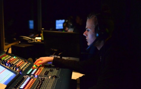 CTTA member Gustaf Claesson controls the soundboard in the Carlmont Performing Arts Center.