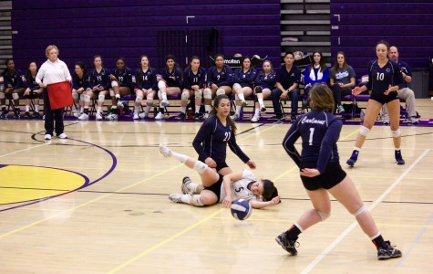 Seniors Erin Alonso and Elena Mateus go in for a painful dive during a Carlmont volleyball game.