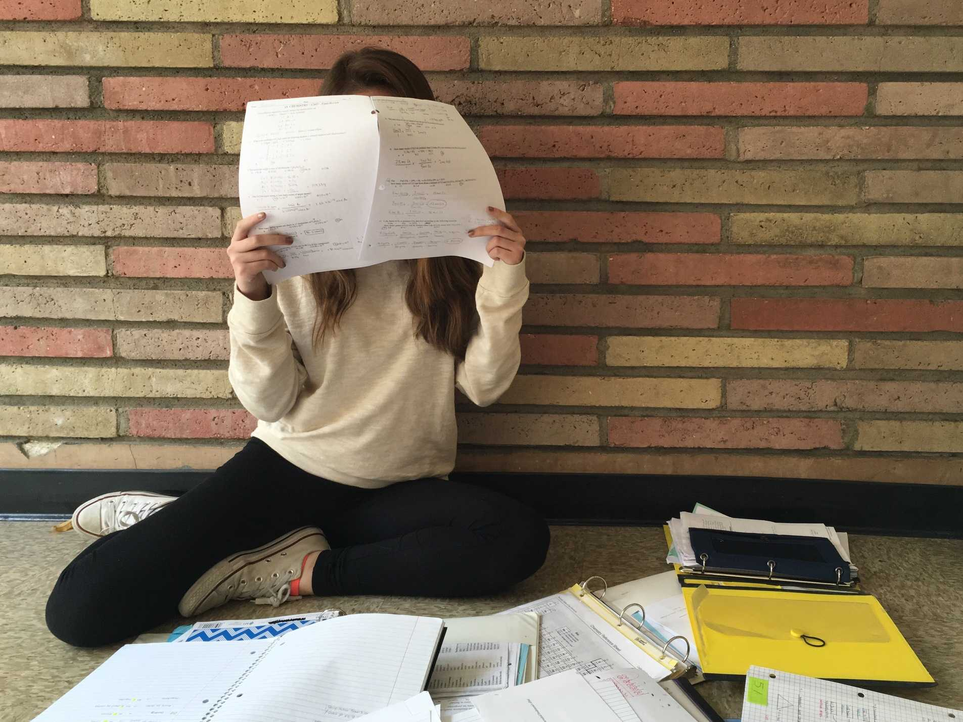 Sophomore Katie Gray reviews information for her chemistry final.