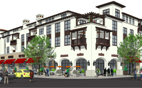 An artistic rendering shows the view of Wheeler Plaza development as seen from the Walnut Street and San Carlos Avenue intersection.