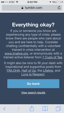 "Searching the ""depression"" tag on Tumblr now brings up a disclaimer and recommended sources to help with depression."