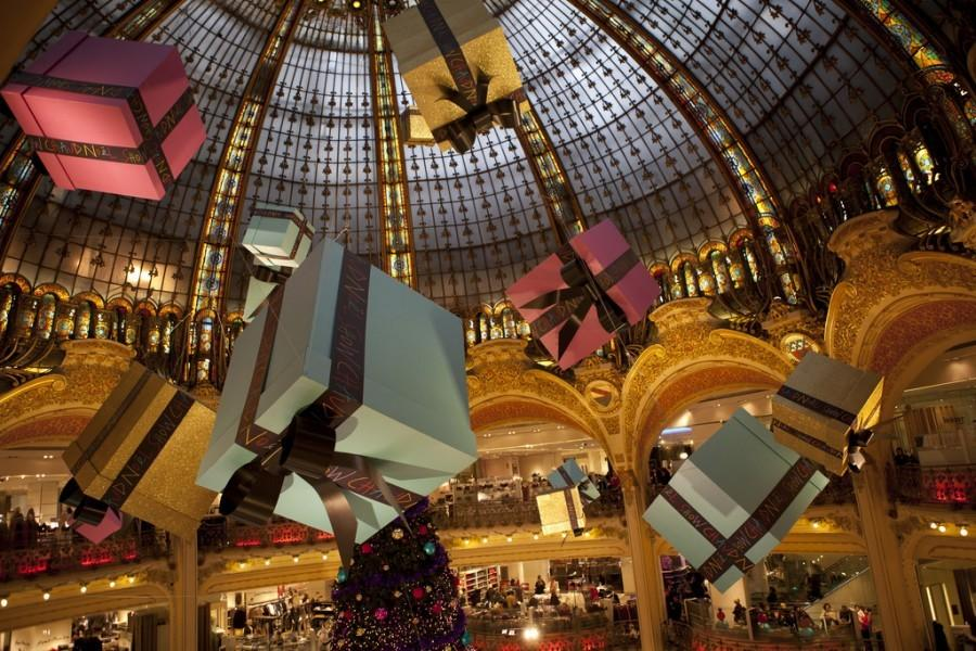 During the winter season, many stores set up Christmas decorations and deals to appeal to customers.
