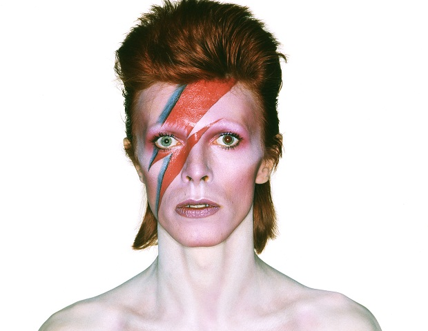 Artist, David Bowie, poses for the cover of his sixth album, Aladdin Sane