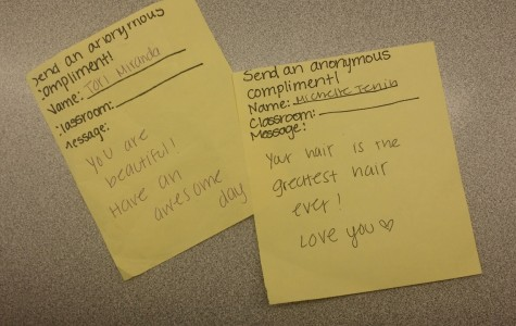 Students are given a piece of paper so that they can send compliments to a friend for free.