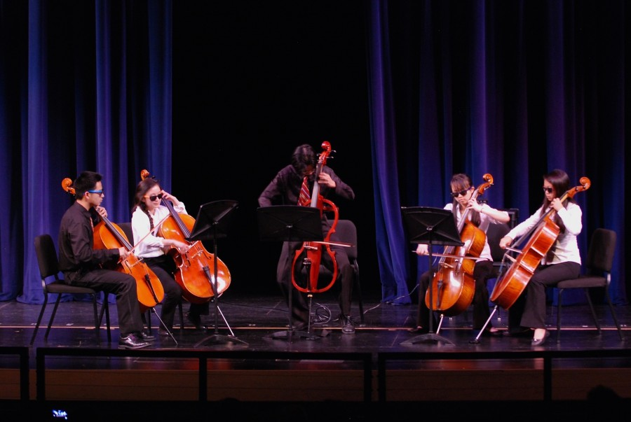 A cello quintet performs The Final Countdown by Europe. The performance was arranged by senior Brian Cheung, who was featured on this piece on the electric cello.