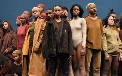 Predominantly black models pose for Kanye West's Yeezy Season 3, which debuted in Madison Square Garden in New York.