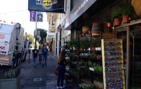 San Francisco citizens wander around on Haight street.