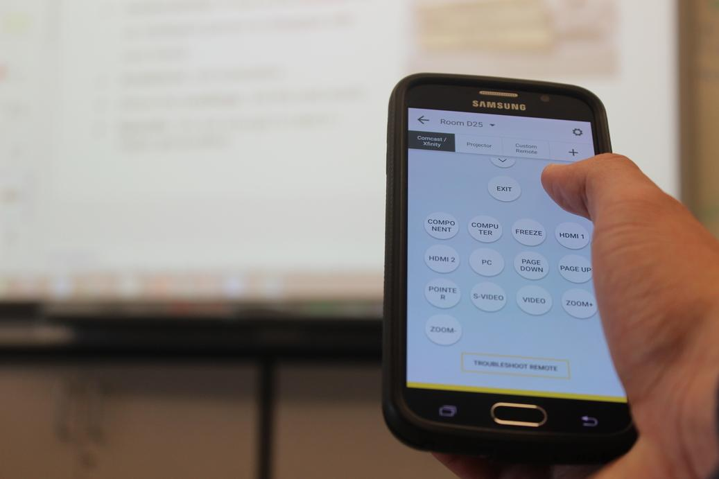 An app for Android smartphones allows students to control a SMART Board from their seats.