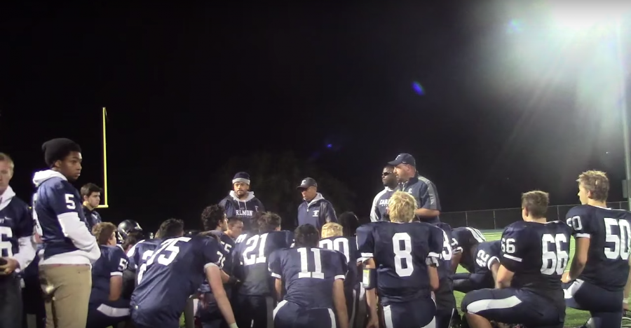 The Scots huddle after their loss against Burlingame.