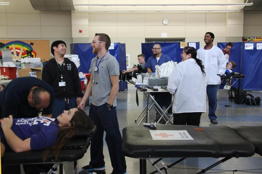 This group of American Red Cross workers travel all over the Bay Area to host blood drives. Almost every day they are at a different school. High school and college students are two of their biggest demographics.