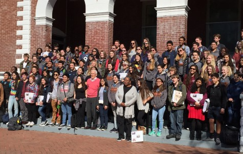 Sojourn students stand in front of the Brown Chapel A.M.E. Church on their last day.