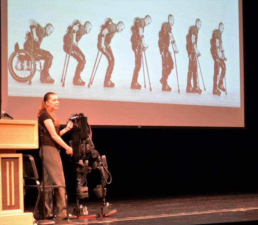 Exoskeletons+aren%27t+just+for+lobsters+anymore.+Strausser+demonstrates+the+remote+control+function+that+serves+as+the+first+step+of+adjustment+to+the+technology.