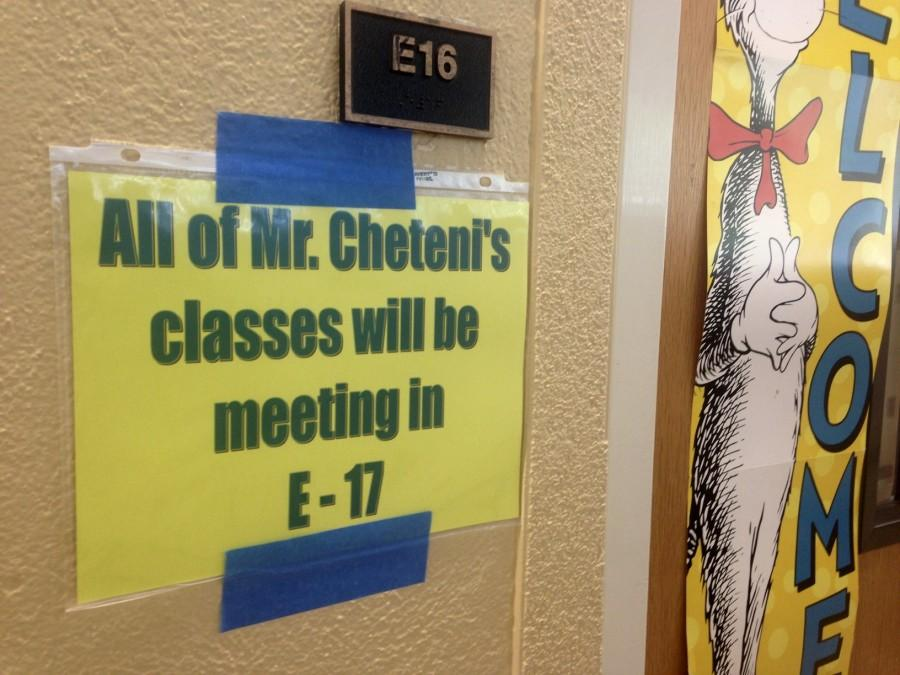 The sign posted by teacher Cheteni Freedoms door that was one of the only warnings of his departure to his students.