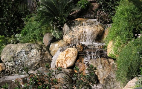 A waterfall was displayed at the front entrance as one landscaper tried to entice new clients.