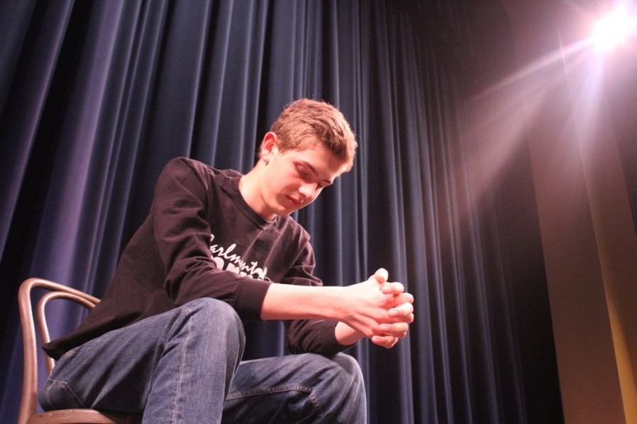 Sophomore Jimmy Rudger prepares for the Carlmont Improv Show by taking a personal moment onstage before the house opens.